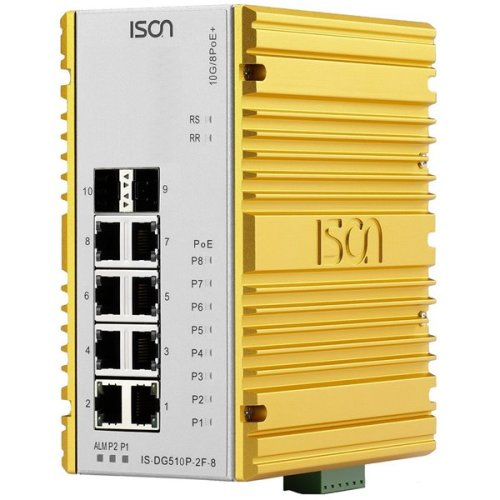 Industrie-PoE-Ethernet-Switch IS-DG510P-2F-8